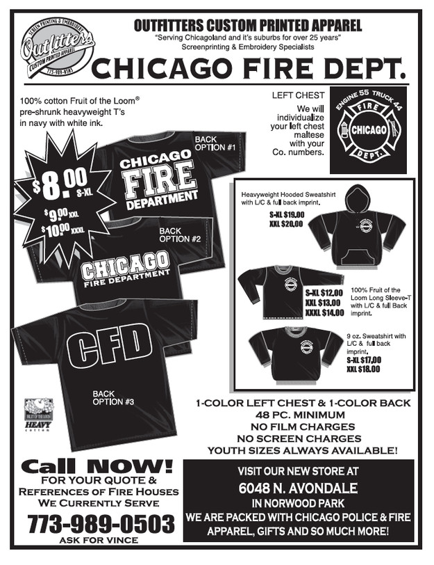 2765965e5 t-shirts, OUTFITTERS CUSTOM PRINTED APPAREL Chicago, IL Chicago Fire Dept.